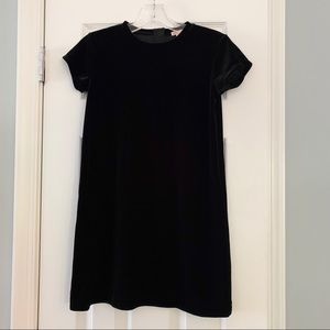 J.Crew Crewcuts cap sleeve black velvet dress